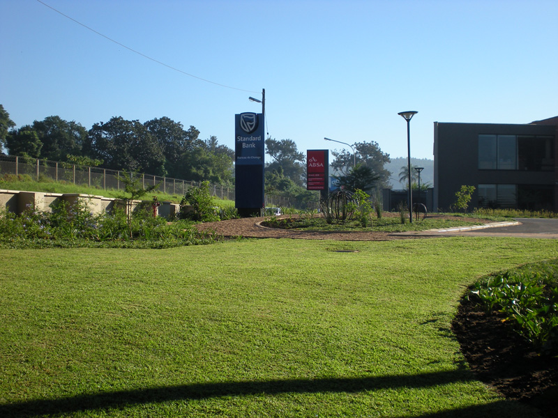 Newly planted gardens at Standard & ABSA Banks