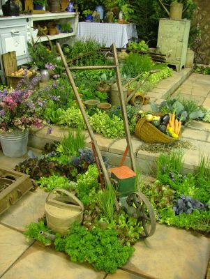 2006 Garden & Leisure Show. Herbs, vegetables and wonderful old garden implements