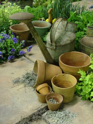 2006 Garden & Leisure Show. Teracotta pots, herbs, fresh & dried and wonderful old watering cans