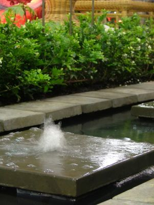 A jet of water through a charcoal flagstone is an interesting and easy to use water feature
